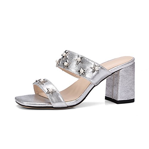 VFDFGNn Fashion thick high heels sandals women slippers casual slipper woman large size 34-43 Silver - Nyc Ave 5th Shopping