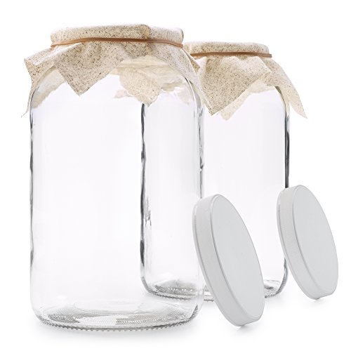 2 Pack - 1 Gallon Glass Jar w/Plastic Airtight Lid, Muslin Cloth, Rubber Band - Wide Mouth Easy to Clean - BPA Free & Dishwasher Safe - Kombucha, Kefir, Canning, Sun Tea, Fermentation, Food Storage by 1790 (Image #1)