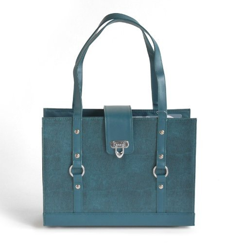 Texture Faux Leather File Organizer Tote -Teal color Photo #4