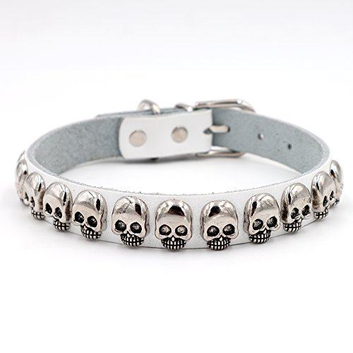 PU Leather Personalized Dog Collars with Silver Bling Skull Spiked Studded Charm, Pet Cat Dollars Necklaces for Training,Sports,Travel,Waterproof,Medium Dogs Adjustable 12-15.2inches,(M,White) ()