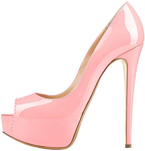 Calaier Mujer Caroad Tacón De Aguja 15CM Sintético Ponerse Sandalias de vestir Zapatos Rosa B