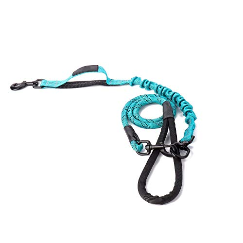 (Strong Pulling Dog Leashes for Medium and Large Dogs Mountain Climbing Rope 4ft Long - Reflective Leash for Safety, Anti-Pull Bungee for Reduce Shock (43in+23in, Blue_Blue))
