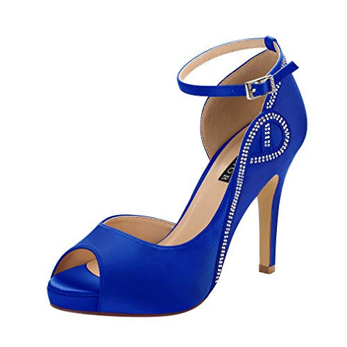 ERIJUNOR E8816 Women Peep Toe Side Open Rhinestones Comfortable Platform Satin Bridal Wedding Party Shoes Blue Size 8