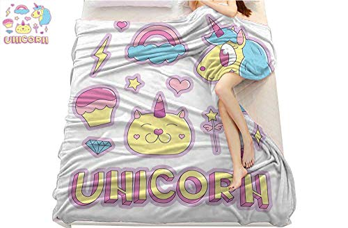 Unicorn Cat, Super Soft Lightweight Blanket, Collection Fantastic Icons Magic Horse Kitten Cupcake Rainbow, Microfiber for Bedding or Sofa, (W70 x L90 Inch Sky Blue Pink Light Yellow]()