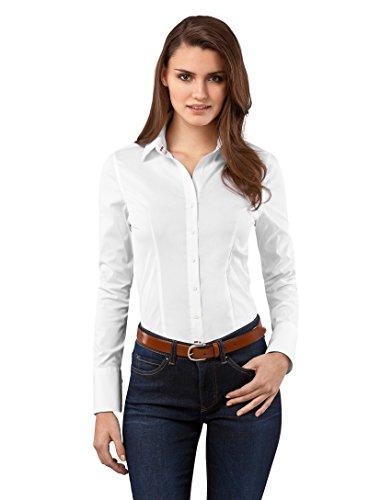 Bluse, slim-fit, uni - easy iron, bügelleicht,36,weiß