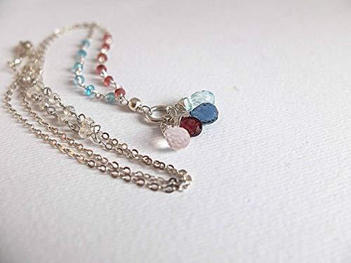 Gemstone Pendant Necklace,Aquamarine, London Blue Topaz, Garnet and Rose Quartz Multi Gemstone Pendant, Delicate Silver Platedchain with Gemstone 6-9mm by Gemswholesale