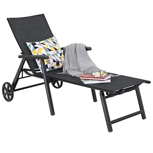 Chaise Lounge Chair Pool Recliner 5-Position Adjustable for Garden Yard Portable with Wheels Breathable Textiline Steel Frame Outdoor Patio Chair Black