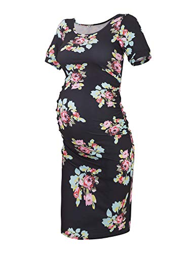 Maternity Dress Bodycon Ruched Wrap Womens Causual Pregnancy Dresses Floral Black M