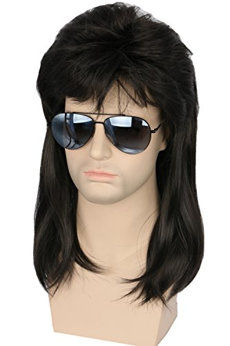 Topcosplay 80s Hair Wig Men Wayne Wig Rocking Dude Wig Punk Metal Rocker Disco Mullet Wig (Black Wavy) ()