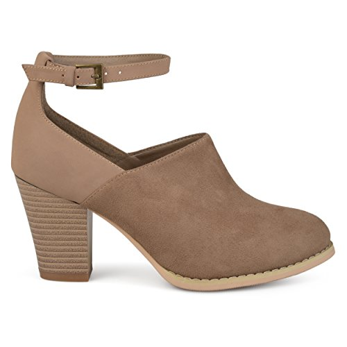Stacked Womens Faux Ankle Co Taupe Booties Brinley Strap Faux Suede Leather q58AUY