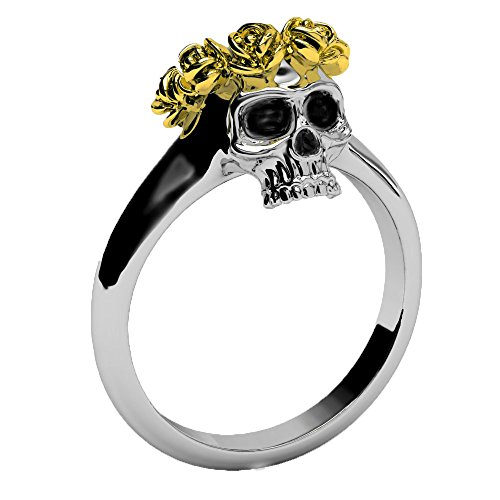 EVBEA Antique Class 14k Gold Rose Crown Ring Gothic Jewelry Jeulia Skull Love Rings for Women - 14k Love Gold Ring