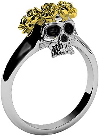Skull Band with 14k Gold Halo EVBEA Unique Gothic Rose Crown Rings for Women