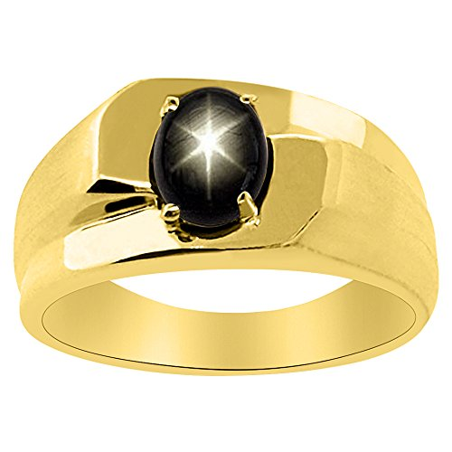 Solitaire Black Star Sapphire Ring Sterling Silver or 14K Yellow Gold Plated Silver