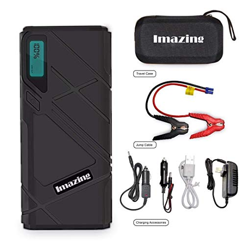 Imazing Portable Car Jump Starter 2500A Peak 20000mAH QC 3.0 and LED Light 12V Auto Battery Booster Portable Power Pack with LCD Display Jumper Cables Up to 8L Gas or 8L Diesel Engine