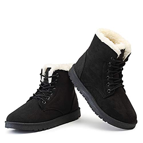 Classic Women Winter Boots Suede Ankle Snow Boots Female Warm Fur Plush Insole Mujer Lace-Up,Black,4.5