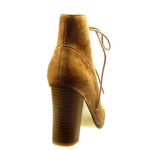 Angkorly - Zapatillas de Moda Botines altas mujer cordones Talón Tacón ancho alto 9.5 CM - Camel