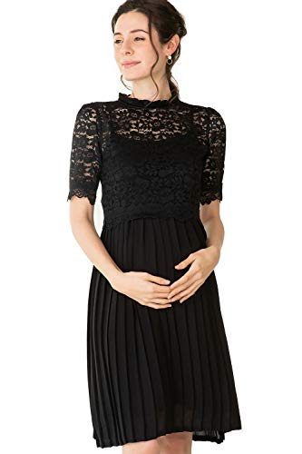 Maternity Nursing Breastfeeding Summer Formal Lace Baby Shower Dress with Pleated Skirt, Black Black, M Size (US Size: 4-6)