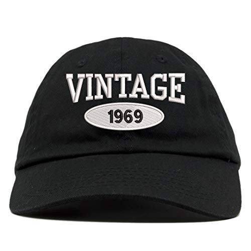 (TOP LEVEL APPAREL Vintage 1969 Embroidered 50th Birthday Relaxed Dad Hat Black)
