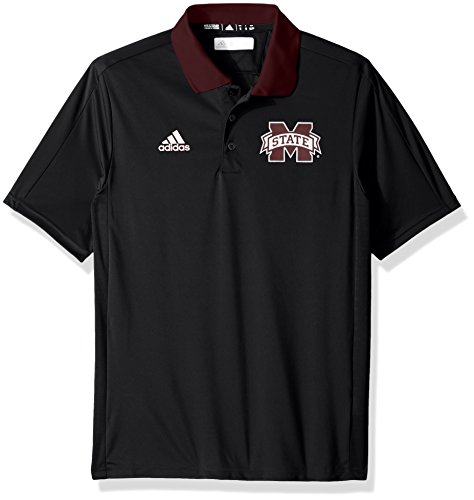adidas NCAA Mississippi State Bulldogs Adult Men NCAA Sideline Coaches Polo, Medium, Black