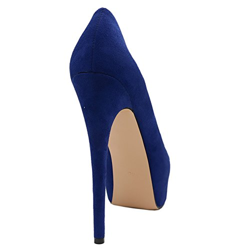 Party Platform Wedding High Women's Heels suede Royal MERUMOTE Pumps Dress Night Blue for Shoes I0vwqngR