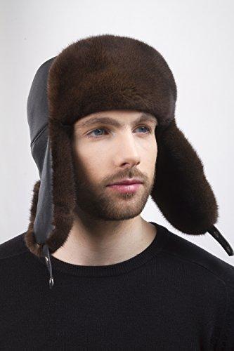 (Natural Mink Fur Ushanka Hat Brown Color With Leather Saga Furs Men's)