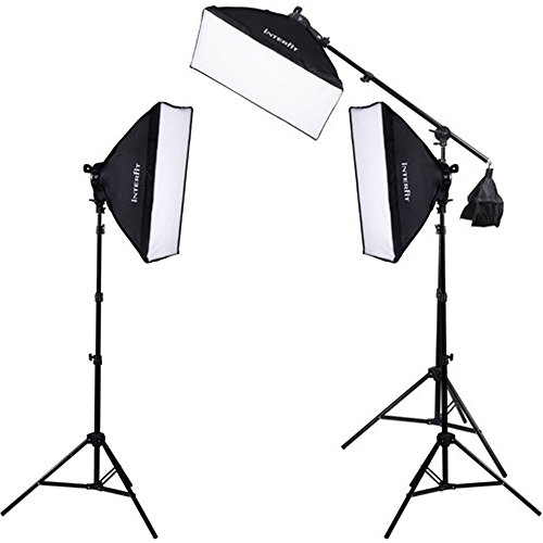 Interfit F5 3-Head Continuous Fluorescent 5600K Daylight Lighting Kit: (3) 5-Lamp Heads, (15) 32W Lamps, (3) Softboxes, (2) 7.5' Air-Cushioned Lightstands, (1) 10' Light Stand w/ (1) Boom Arm ()