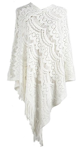 FOUNDO Women's Pullovers Sweater Lace Crochet Knit Poncho Cape Wrap Tassle Shawl White (Lace Wool Sweater)
