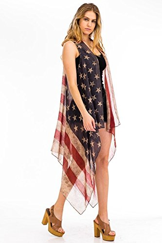 9517b7699e05 Amazon.com: Patriotic American Flag Distressed Kimono Cardigan Sleeveless  Vest or Scarf Vintage Boho 4th of July or Beach Kimono Flowing Summer Vest:  Arts, ...