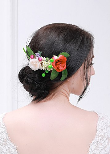 Kercisbeauty Handmade Boho Vintage Side Red Pink Rose Flower Hair Comb Bridal Bridemaids Flower Girl Head piece for Weding Back to school Party,Halloween Party -