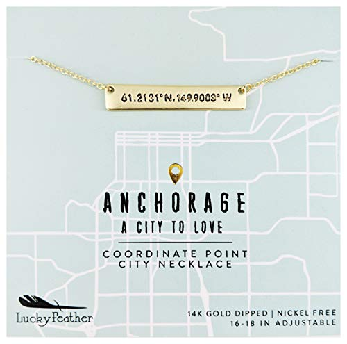 """(Lucky Feather City Coordinate Bar Necklace – 14K Gold Dipped Horizontal Bar Necklaces for Women with 16"""" – 18"""" Adjustable Cable Chain - Atlanta Souvenirs)"""