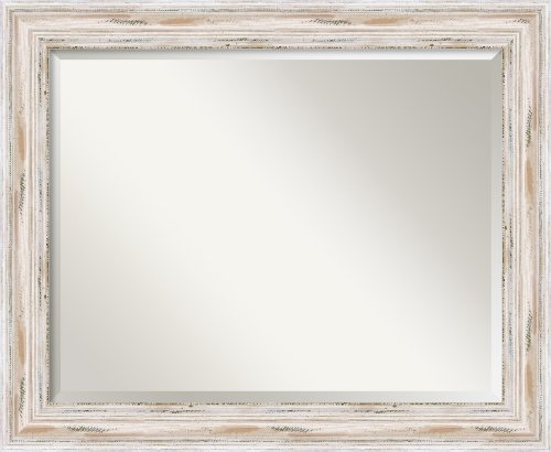 Distressed Wall Mirror Large, Alexandria shabby chic White Wash Wood: Outer