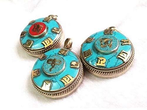 (Delicate Tibetan Turquoise Inlay Golden Holy OM Mantra OM Mani Ghau Box Pendant)