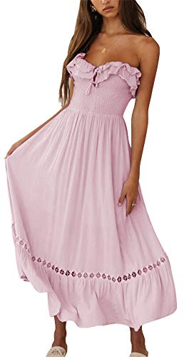 (BOCOTUBE Women¡¯s Summer Sleeveless Strapless Ruffle Off Shoulder Fit and Flare Swing Dress Light Pink)