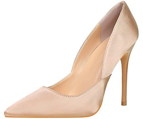 Seda Zapatos BIGTREE Slip Dedo Elegante de tacón Mujer Beige pie On De Zapatos Vestido Tacones del altos puntiagudo O7awwXxH