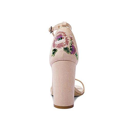 Con Tacco Albicocca Moda Donna Sandali Pelle Chunky In 35 Estivi Alto Con JIANXIN Da Colore Sandali dimensioni Perline 7qZXwRHc