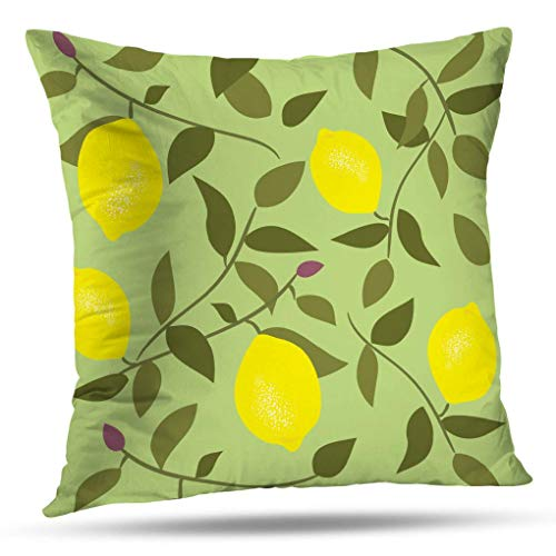 Decorative pillow covers,Nap Pillowcase 16 x 16 inch Square Pillow Cushion Farmhouse Pillow Cover Seamless Pattern with Lemon Vintage Style Backdrop for Sofa Bedroom Living Room(Two Sides Print)