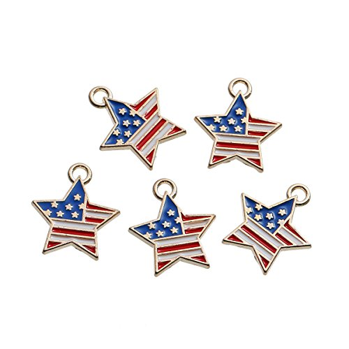 Gold American Flag Charm (10 American Flag Gold Plated Star Charms Fourth of July Flag 19mm x 16mm)