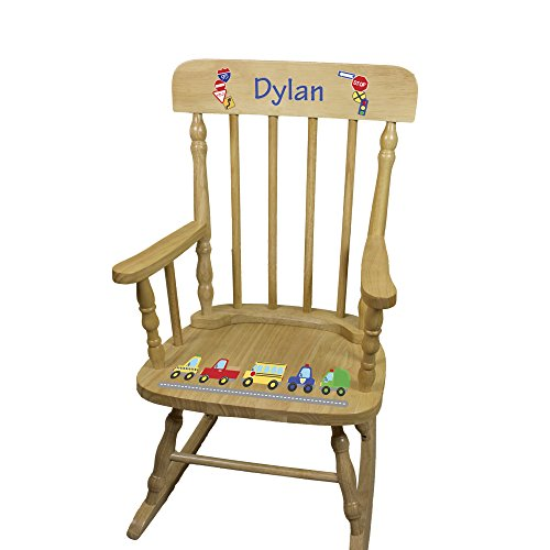 Personalized Wooden Cars and Trucks Rocking Chair by MyBambino