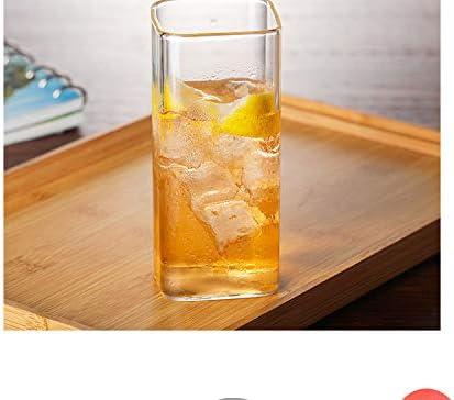 TUOLUO Wasserbecher Square Cup Glas Wasserbecher Getränk Frühstück Milch Saft Sojamilch 301-400 ml/Jingcui Cup 350ml