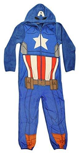 Captain america Boys Onesie Official Marvel Avengers Childrens Hooded Sleepsuit Pyjamas