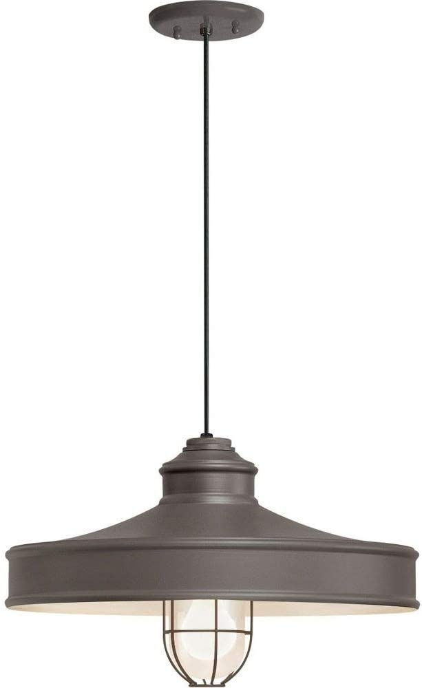 16 One Light Pendant with Wire Guard Troy Lighting 5DNC16MFGGTBZ-BC Nostalgia Textured Bronze Finish with Frosted Glass