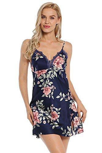 BellisMira Women's Floral Satin Slip Silk Sleepwear Lace Chemise V-Neck Nightgowns,Dark Blue,L -
