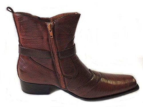 Nya Premium Tillfälliga Mens Höga Boots Läder Blixtlås Finskor M698 / Brun