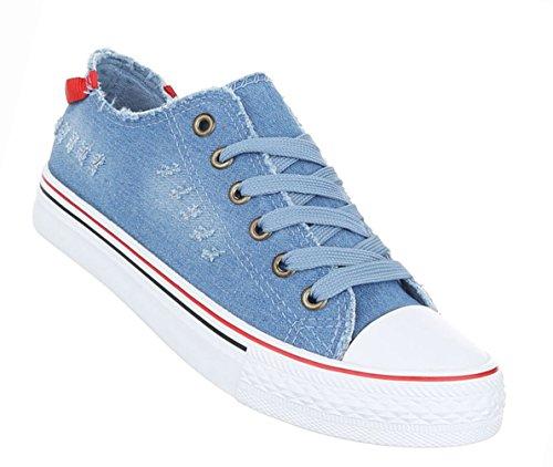 Damen Schuhe Freizeitschuhe Low-top Sneaker Schnürer Schwarz Blau