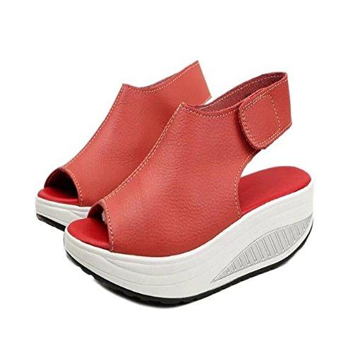 gran de de sandalias la Sandalias de GAOLIXIA las zapatos pescado zapatos boca las 4 sandalias gruesas sandalias cuña de verano de los mujeres colores nueva de de de sacudiendo Rojo tacón tamaño wtEOFq