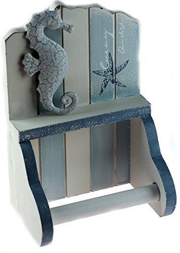 KT Nautical Blue White Beach Hut Bathroom Loo Toilet Roll Holder SEAHORSE