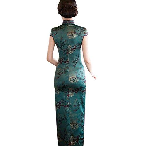 Leinen Robe Gedruckt Abendkleid Lange 07 Slim Blumen Chinesisch Frauen Qipao Cheongsam Seide Elegant Hzjundasi qB1T6wWn