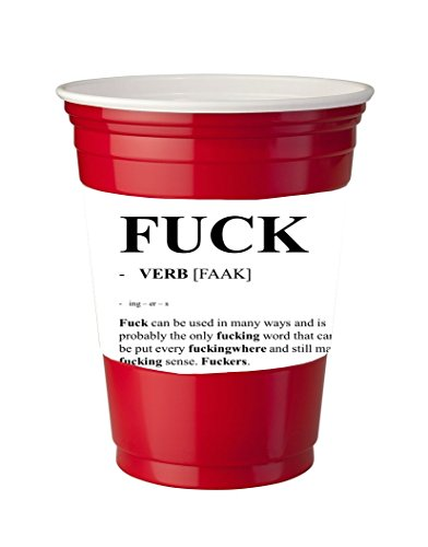 4 Pack of Vinyl Decal Stickers for Disposable Cups / Fuck The Definition Humor Funny