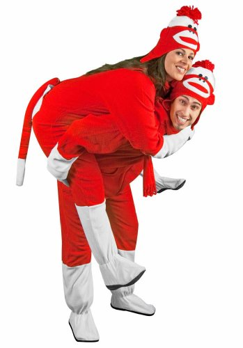 Sock Monkey Costume Footies for Adults Red Fleece with Butt (Sock Monkey Onesie Adults)