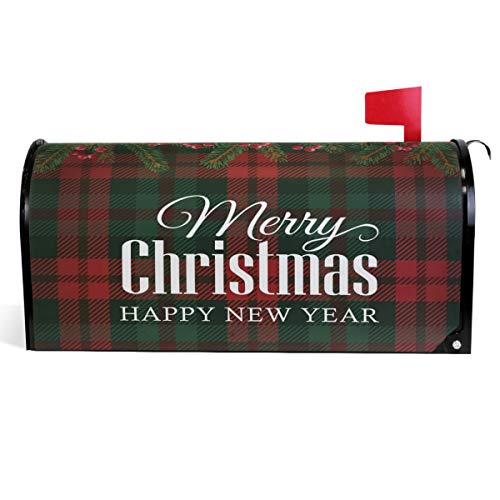 Wamika Christmas Tree Flowers Mailbox Cover Xmas Holly Berry Plaid Mailbox Covers Magnetic Mailbox Wraps Post Letter Box Cover Standard Size 18